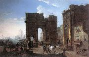 SALUCCI, Alessandro Harbour View with Triumphal Arch g painting